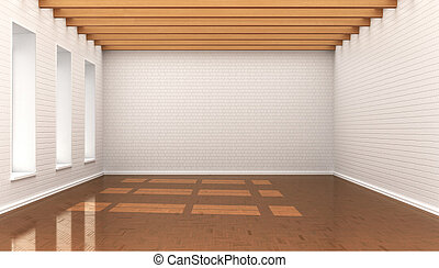 empty room, white wall bricks, blocks, ceiling with wooden...