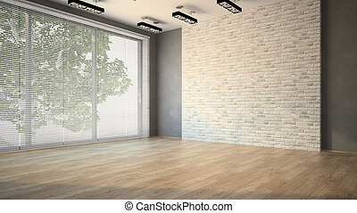Empty room whith brick wall and lamps