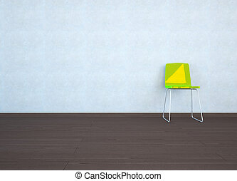 Empty room with a chair