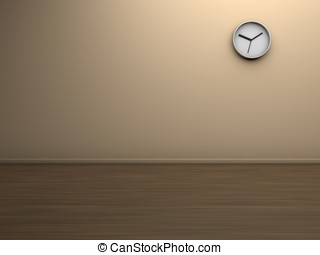 empty room with a clock