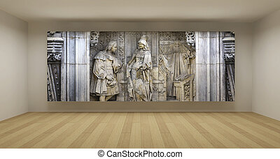 Empty room with ancient bas-relief picture, art gallery...