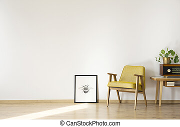 Empty room with armchair