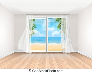 empty room with big sliding window and sea view