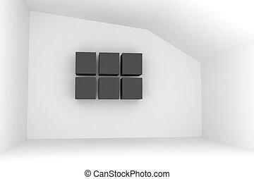 Empty room with black box
