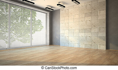 Empty room with blind illustration