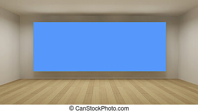 Empty room with blue chroma key backdrop, 3d art concept, clean space