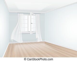 empty room with blue wall and open window