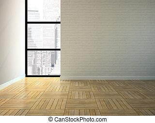Empty room with brick wall