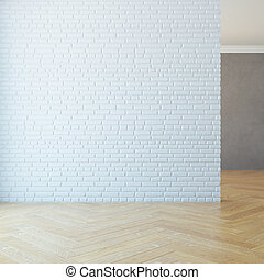 Empty Room With Brick Wall 3d Rendering