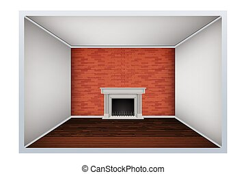 Empty room with brick wall and fireplace