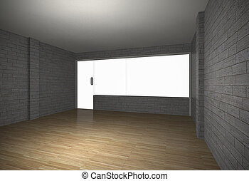 Empty room with brick wall and old wood floor