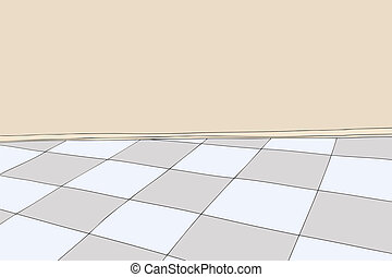Checkered Floor Room Outline Outlined Background Of Room With Blank Wall And Checkered Floor