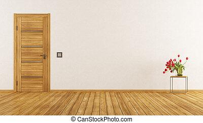 Empty room with closed door