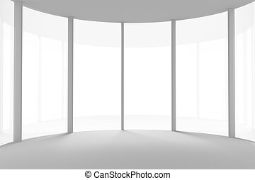 empty room with curved glass wall