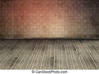 Empty room with dirty floorboards and outmoded wallpaper