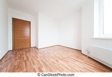 Empty room with one door and window. Empty room with ...