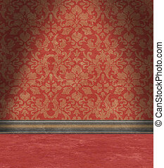 Empty Room With Faded Red Damask Wallpaper
