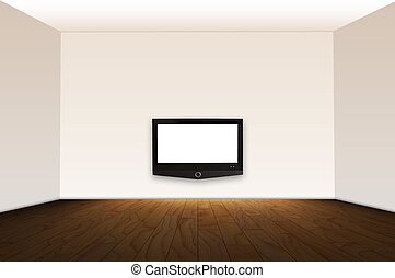 Empty room with HD TV