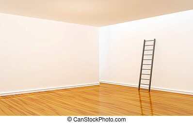 empty room with ladder