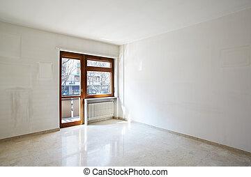 Empty room with marble floor