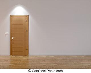 Empty room with modern door