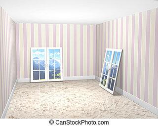 Empty room with new windows