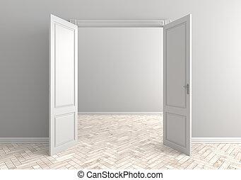 Empty room with open door. Scandinavian interior. 3d illustration.