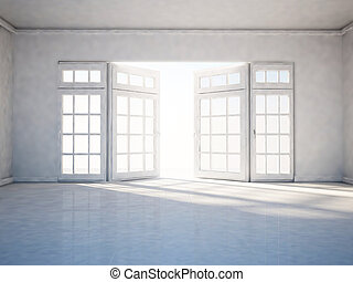 empty room with open window, 3d rendering