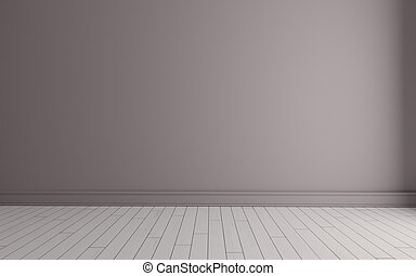 Empty room with pink wall and white wooden floor 3D rendering