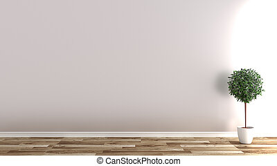 Empty room with plants on wooden floor, white wall background .3D rendering