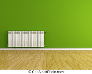 empty room with radiator - green empty room with hot water...