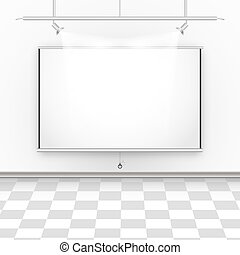 Empty room with square floor, illumination and projector canvas.