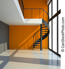 Empty room with staircase and orange wall