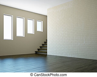 Empty room with stairway window - Empty room with stairway ...