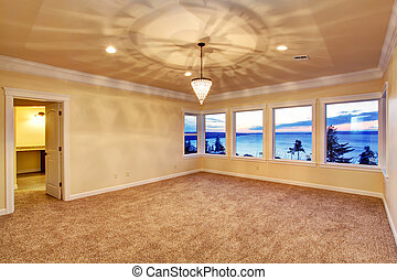 Empty room with sunset window view - Empty room with ivory ...
