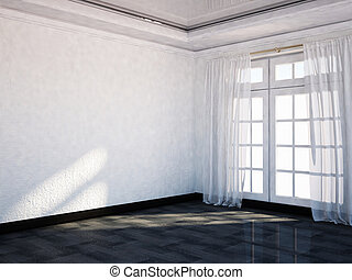 empty  room with the big window,