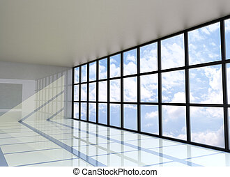 Empty room with the blue sky on the outside
