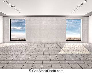 Empty room with two windows. 3d illustrtion