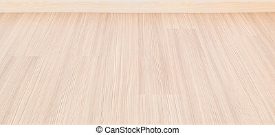 Empty room with wall and wooden floor laminate background
