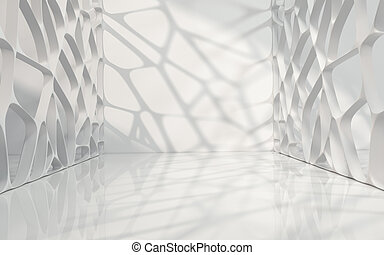 Empty room with white background, 3d rendering.