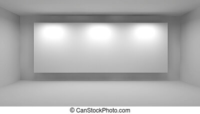 Empty room with white frame, art gallery concept, 3d illustration