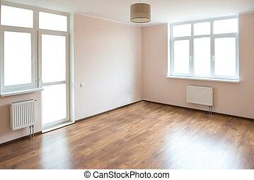 Empty room with white windows