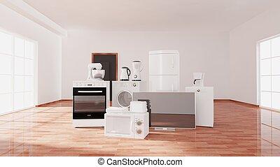 Empty room with window, parquet floor and appliances, room...