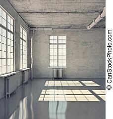 empty room with windows (loft concept)