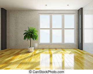 Empty room with windows - The empty room with stucco wall...
