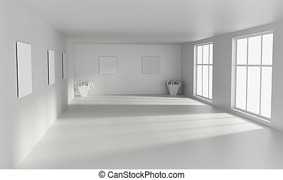 Empty room with with big windows. 3D rendering