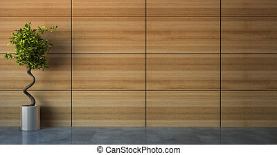 Empty room with wood wall