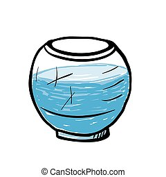 empty round aquarium, sketch illustration