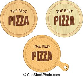 empty round cutting boards with pizza restaurant label eps10...
