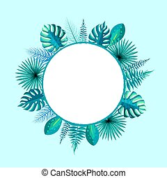 Empty Round Frame Spare Place for Text Palm Leaf